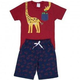 conjunto infantil masculino de verao girafinha vermelho marinho 1301 8591