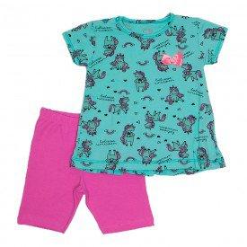 conjunto feminino verde unicornio com shorts rosa rei jak 8401 vrd 0