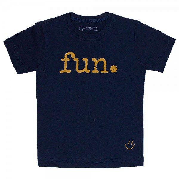 t shirt infantil unissex marinho fun mostarda 8565