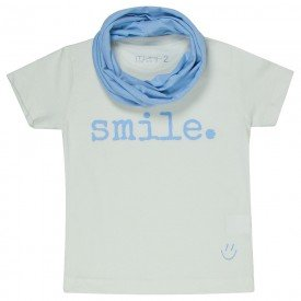 t shirt infantil unissex off white smile gola azul acqua c 04 03 08 g 08 8578
