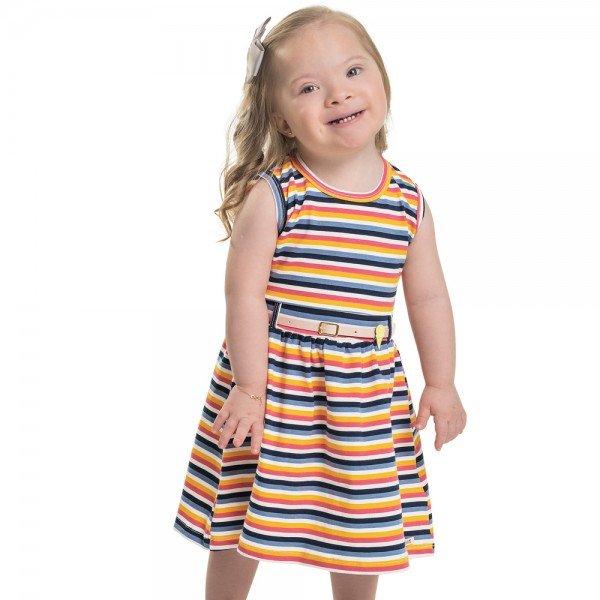 vestido infantil feminino listrado marinho com rosa 104338 8812