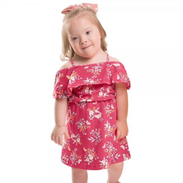 vestido infantil feminino floral pink 104352 8818