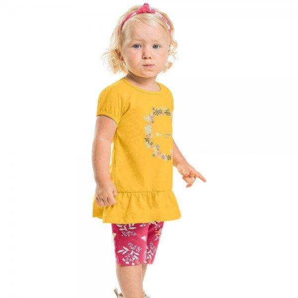 conjunto infantil feminino amarelo pink brinde faixa de cabelo 104354 8819