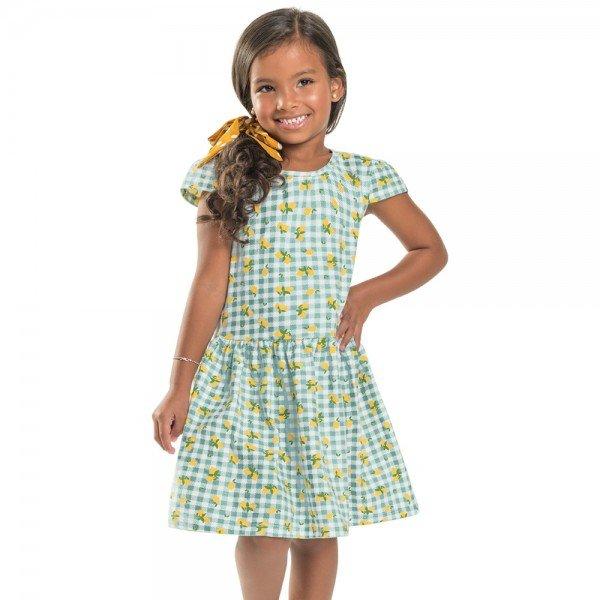 vestido infantil feminino xadrez verde claro 104363 8823