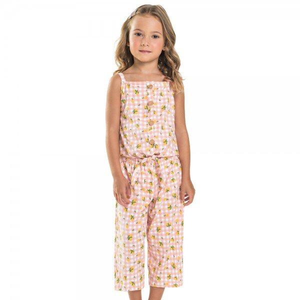 macacao pantacourt infantil feminino xadrez rosa claro 104366 8824