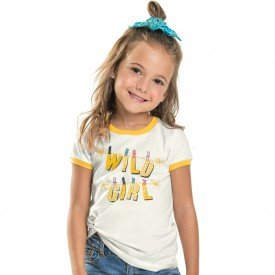 camiseta infantil feminina wild girl off white 104368 8826