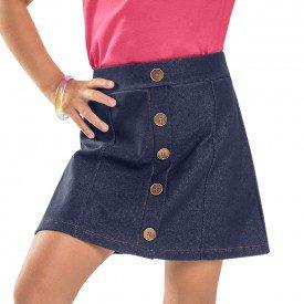 saia infantil feminina cotton jeans marinho 104376 8828