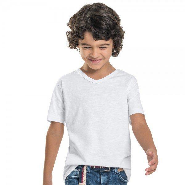 camiseta infantil masculina decote v branca 104442a b 8886