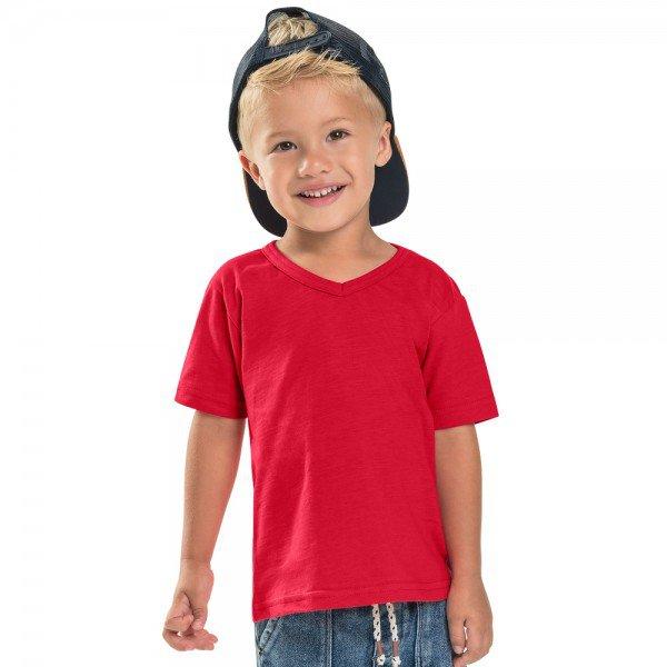 camiseta infantil masculina decote v vermelha 104442a b 8885