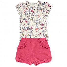 conjunto bebe menina body com short off white pink 104322 8801