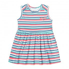 vestido bebe menina listrado verde claro com rosa 104327 8804