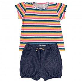 conjunto bebe menina listras marinho com rosacotton jeans 104328 8806