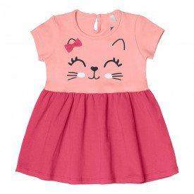 vestido bebe menina gatinho rosa claro 104329 8807