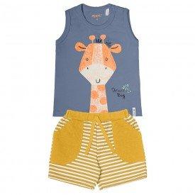 conjunto bebe menino girafa azul mostarda 104393 8833