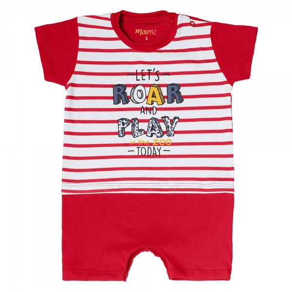 macaquinho bebe menino roar branco vermelho 104396 8837
