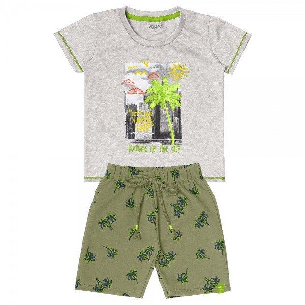 conjunto infantil masculino coqueirinhos mescla claro verde militar 104408 8851 4