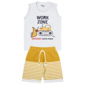 conjunto infantil masculino work branco mostarda 104410 8855