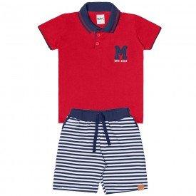 conjunto infantil masculino polo com bermuda coral marinho 104412 8857 4