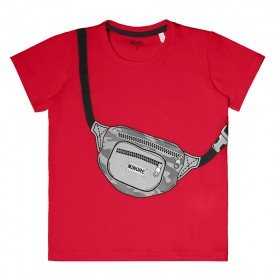 camiseta infantil masculina meia malha vermelha 104419 8863