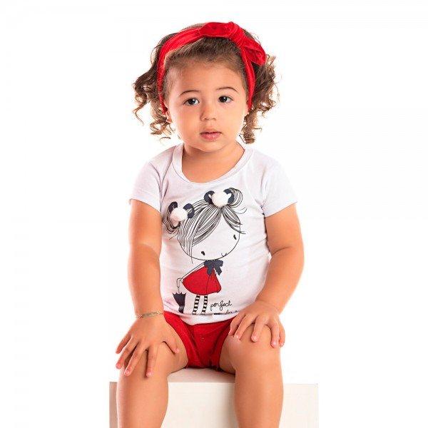 conjunto bebe menina boneca branco vermelho 1239 8604