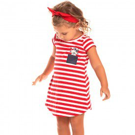 vestido infantil feminino listrado vermelho 1257 8643 2