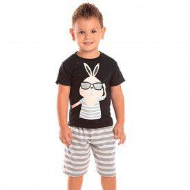 conjunto infantil masculino coelhinho preto cinza mescla 1265 8722 2