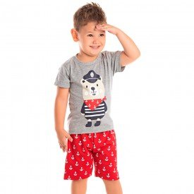 conjunto infantil masculino marinheiro mescla vermelho 1266 8725 02