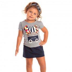 conjunto infantil feminino camiseta e saia moletinho mescla marinho 1252 8629 2