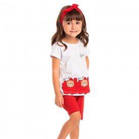 conjunto infantil feminino love branco vermelho 1256 8639