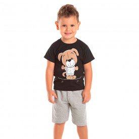 conjunto infantil masculino ursinho preto mescla 1262 8713 2
