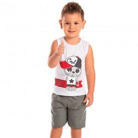 conjunto infantil masculino hello branco chumbo 1263 8715 2
