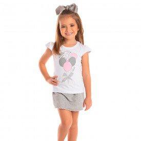 conjunto infantil feminino camiseta e short saia branco mescla 1279 8669 2