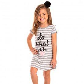 vestido infantil feminino listrado cinza mescla 1284 8684 2
