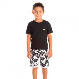 conjunto infantil masculino tropical preto floral 1290 8757 2