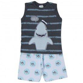 conjunto bebe menino shark chumbo branco 1243 8695