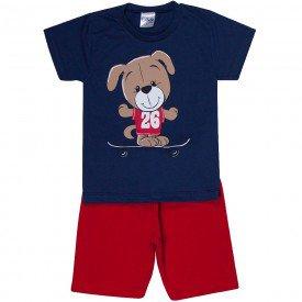 conjunto infantil masculino ursinho marinho vermelho 1262 8712