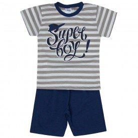 conjunto infantil masculino super boy cinza mescla marinho 1273 8745