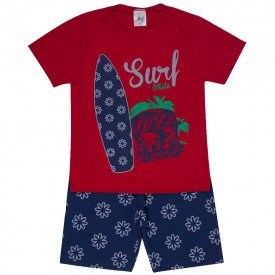 conjunto infantil masculino surf vermelho marinho 1289 8756