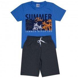 conjunto infantil masculino summer azul anil chumbo 1291 8761 2