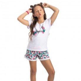conjunto juvenil feminino tropical branco rosa 4545 9088