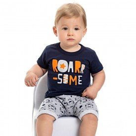 conjunto bebe menino roar marinho mescla 4561 9123