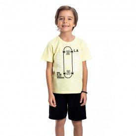 conjunto infantil masculino camiseta e bermuda moletinho lemonade preto 4583 9156