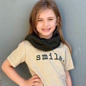 t shirt infantil unissex fendi smile gola verde militar 8572