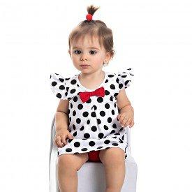 vestido bebe menina poa com calcinha branco vermelho 4503 9054