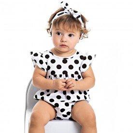 body bebe menina poa branco brinde faixa de cabelo 4505 9058