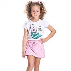 conjunto infantil feminino blusa e short saia branco sorvete 4539 9075