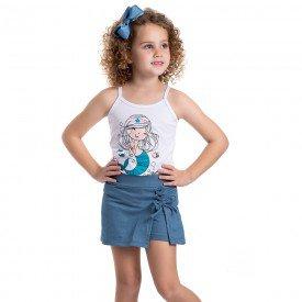 conjunto infantil feminino sereia branco jeans azul claro 4540 9077