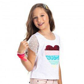 blusa juvenil feminina heart branca 4543 9083