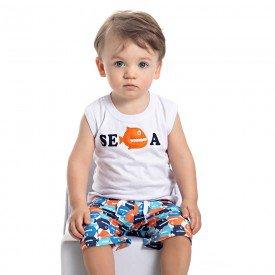 conjunto bebe menino regata e bermuda tactel branco laranja 4551 9096