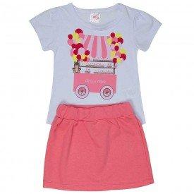 conjunto infantil feminino camiseta e saia moletinho branco goiaba 1252 8628